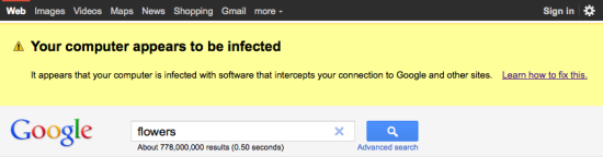 Aviso de malware Google